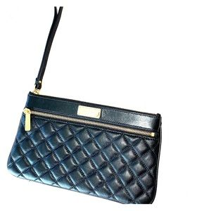 Quilted, black leather clutch/wristlet